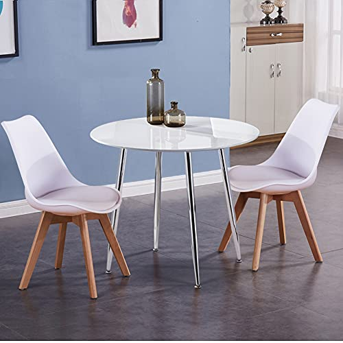 GOLDFAN White Dining Table and Chairs Set 2 Modern Round Dinner Table Chairs with Beech Legs for Dining Room Kitchen Office Lounge