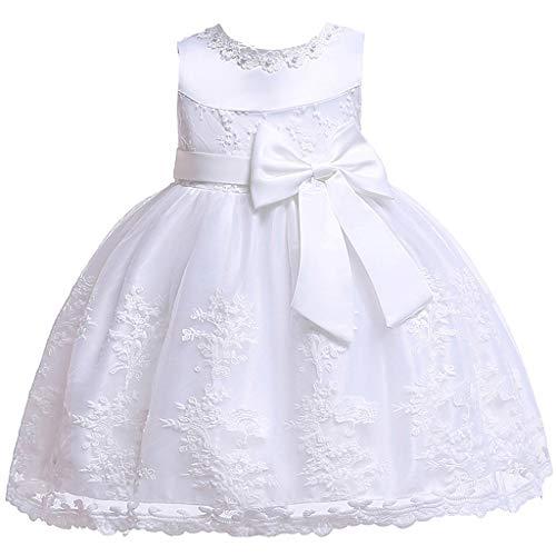 FRAUIT Vestito Cerimonia Bambina Bianco Lungo Abito Neonata Damigella Sposa Vestiti Neonato Eleganti per Battesimo Vestito Compleanno Carnevale da Matrimonio Abiti da Sera Eleganti