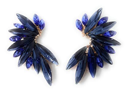 Pendientes Cristales Colores Mujer Pendientes Fiesta Boda Medio Aro, Marino CobaltO