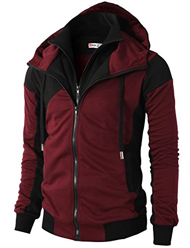 H2H Mens Hoodie Zip-UP Double Zipper Closer with Two Tone Color Wine US XXXL/Asia 4XL (KMOHOL076)