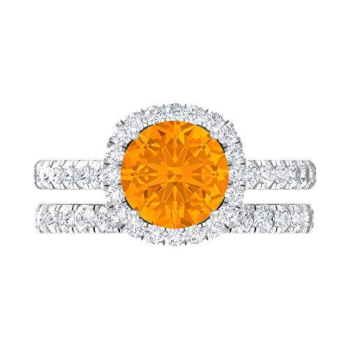Juego de anillos de novia solitario, piedras preciosas redondas de 3,43 quilates, D-VSSI Moissanite 8 mm relleno de vidrio rubí, 14K White Gold, Glass Filled Ruby, Size:US 70