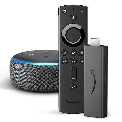 Fire TV Stick 4K mit der neuen Alexa-Sprachfernbedienung + Echo Dot (3. Generation), Anthrazit Stoff