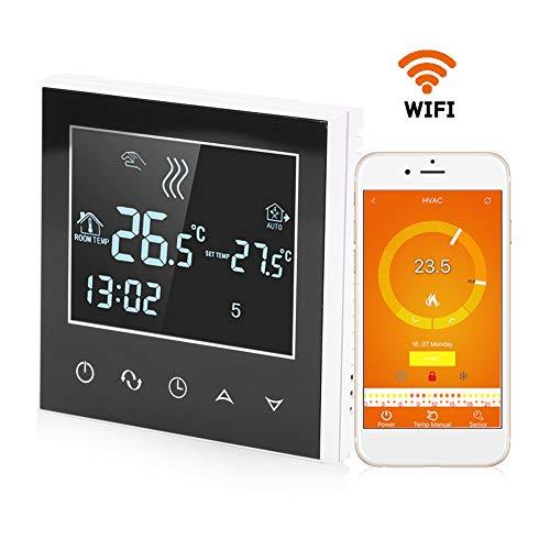 Garsent Termostato Digital, programable WiFi Wireless Termostato de calefacción con pantalla táctil Pantalla radiante Controlador de temperatura App de control.