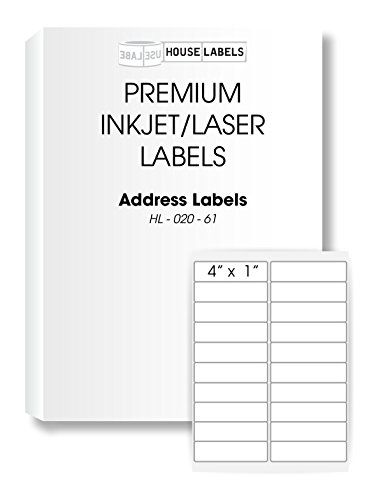 HouseLabels 400 Sheets; 8,000 Labels, 20-UP, Shipping/Mailing Labels (4.0' x 1.0') -- BPA Free!