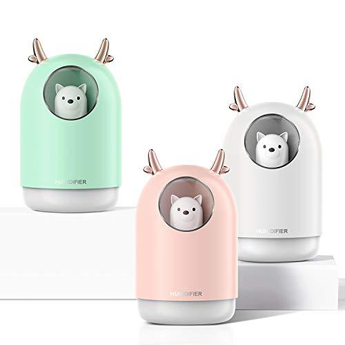 300ml Aroma Diffuser Duftlampe Öle Diffusor bis zu 10 Stunden Arbeitszeit BPA-free Aromatherapie Luftbefeuchter Vernebler Raumbefeuchter Ultra Leise mit 7 Farben LED für Raum Büro Yoga (Blassrosa)