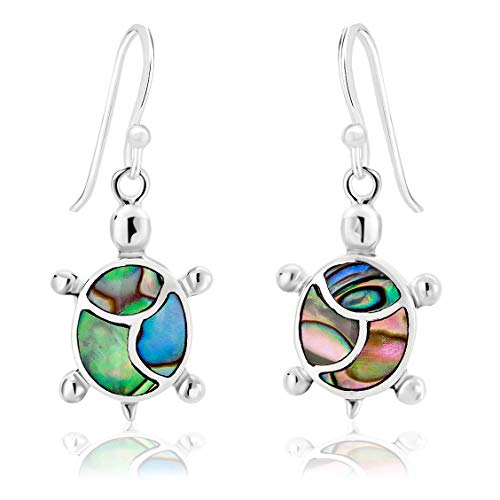 DTPSilver - 925 Sterling Silver and Abalone Paua Shell Turtle Earrings