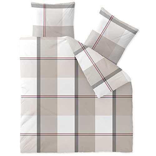 CelinaTex Touchme Biber Bettwäsche 200 x 220 cm 3teilig Baumwolle Bettbezug Svea Karo weiß beige grau
