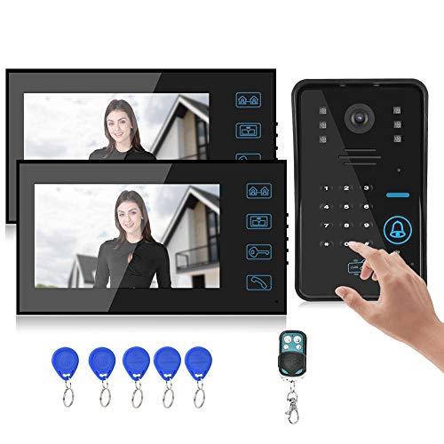 Redxiao~ Portero automático, Sistema de vigilancia Nocturna con 2 monitores, Timbre con vídeo, Edificios públicos, hoteles(British regulatory)