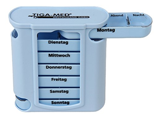 Tiga-Med - Dispensador de pastillas (7 días/1 semana), color azul
