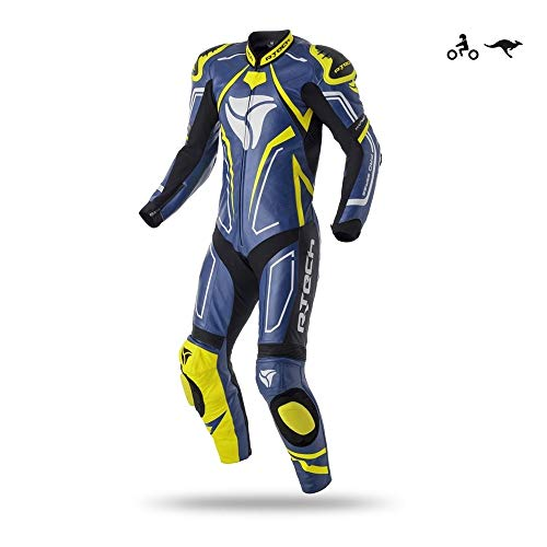 R-TECH Mono de Moto Rising Star Traje de Cuero de una Pieza de Moto para Hombre. (Azul/Amarillo Fluor, 56)