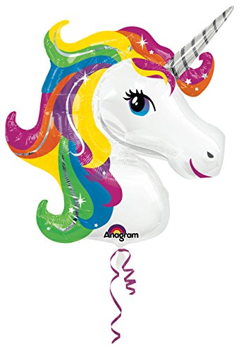 Amscan - 3129901 33 x 29 pulgadas Rainbow Unicorn Super Shape Foil Balloon