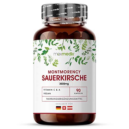 Montmorency Kirsch Kapseln 3000mg - Hochwertiges Sauerkirschen Extrakt laborgeprüft - Reine Sauerkirsche - Vitamin A & Vitamin C - 90 Cherry Tabletten Vegan - Premium Qualität