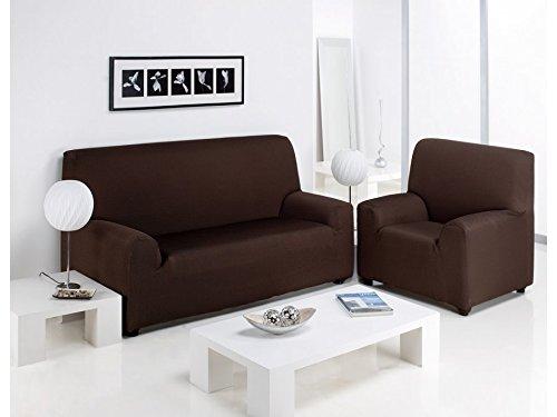 Regalítos TV Funda ELÁSTICA Ajustable para SOFÁ Túnez (Todos los tamaños y Colores) + 3 Pares de Calcetines 1 Plaza (70x110cm), Beis