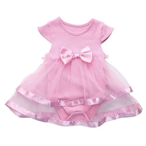 Hirolan Baby Maxi Sommerkleider Overall Säugling Mädchenkleider Geburtstag Bogen Kleider Prinzessin Spielanzug Tutu Kleid Cocktailkleider Knielang Festliche Kinderkleider (3M, Rosa)