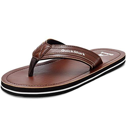 Quickshark Mens Flip Flops Leather Thong Sandals Arch Support Beach Slippers Brown Size 11