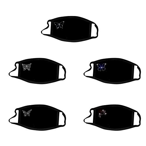 RUDOSE 5 Stück Glänzend Strass Mundschutz mit Motiv Diamant Print Maske Waschbar Wiederverwendbar Stoffmaske Mund-Nasen Bedeckung Atmungsaktiv Halstuch Schals für Damen Glitzer Mundschutz (E)