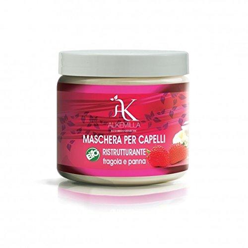 ALKEMILLA - Aardbei Crème Haar Masker met Soja Eiwitten - Gemaakt in Italië - Organisch - Vrij van Parabenen, SLES/SLS, Minerale Oliën, GGO, Pesticiden