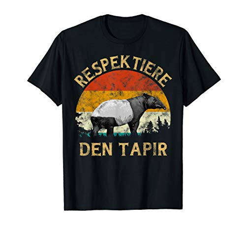 Respektiere den Tapir Retro Vintage Sunset Tree Men Tapir T-Shirt