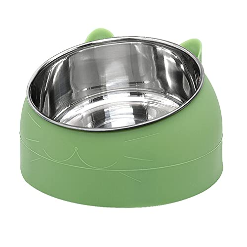 Stainless Steel Dog Cat Bowl, Aiboria Round Ergonomic Slanted Non-Slip Pet Bowl for Dog Puppy Cat and Kitten, Tilted Angle Food Water Bowl Pet Feeder, Easy to Clean, Green (Small/6.8 Ounces)