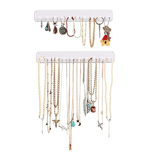 """Boxy Concepts Necklace Organizer - 2 Pack - Easy-Install 10.5""""x1.5"""" Hanging Necklace Holder Wall Mount with 10 Necklace Hooks - Beautiful Necklace Hanger also for Bracelets, Earrings, and Keys (White)"""