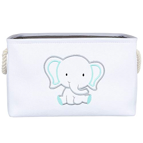APPLE PIE ORDER Storage Basket with Embroidery, Foldable Animal Toy Storage Bins/Cube/Box/Organizer for Kids, Boys and Girls Room, Baby & Nursery. (Elephant)
