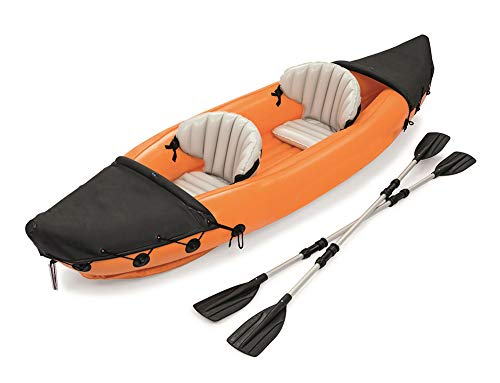 DEAR-JY Kayak,Kayaks hinchables para 2 Personas con Paleta de Aluminio y Bomba de Aire,Bote Inflable Barco de Deriva Barco de Pesca Aventura para Adultos Canotaje Canotaje,321 × 88 cm