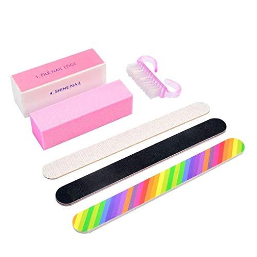 ELENXS 6pcs UV Gel Nail Polish Ponçage Box fichiers Brosse Accueil Salon Manucure Beauté Ongles Outils de Nettoyage