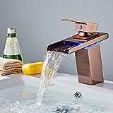 OEWFM Wasserhahn Rose Golden Becken Wasserhahn Wasserfall Temperatur Farben ändern Bad Mischbatterie Deck montiert Waschbecken Wasserhahn heißen und kalten Wasserhahn