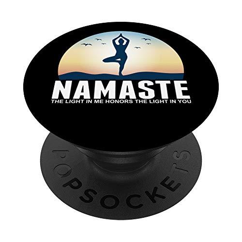 Yoga Namaste La luz En Mí Meditación Budismo Regalo PopSockets PopGrip: Agarre intercambiable para Teléfonos y Tabletas