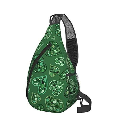 ZHOUWE Mochila bandolera de corazones verdes de la bolsa de la honda, mochila de los deportes de senderismo del bolso de, Negro, Talla única