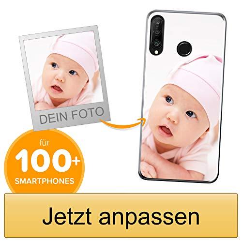 Coverpersonalizzate.it Handyhülle für Huawei P30 Lite mit Foto-, Bildern- oder Text selbst gestalten- Die Handyhülle ist aus weichem transparentem TPU-Silikon-Gel Material