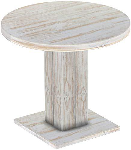 Brasilmöbel Säulentisch Rio UNO Rund 90 cm Shabby Brasil Tisch Esstisch Pinie Massivholz Esszimmertisch Holz Küchentisch Echtholz Größe und Farbe wählbar