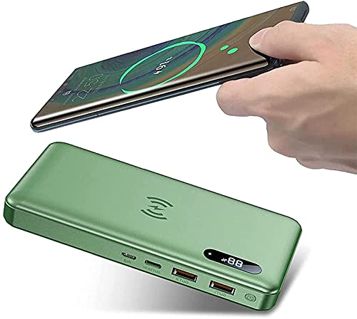 Batería Externa Movil 50000Mah 15W Cargador Portatil Inalámbrico Con PD 65W QC 4.0 Tipo C Carga Rápida, 2 Puertos De Salidas USB Power Bank Para Movil Iphone Samsung Huawei Y Más Smartphone,Verde
