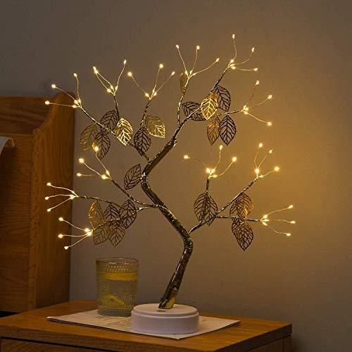 Lámpara LED para mesa bonsái de 45 cm, árbol de luz artificial LED, decoración USB y batería, con interruptor táctil, lámpara de mesa para casa, fiesta, decoración de Navidad