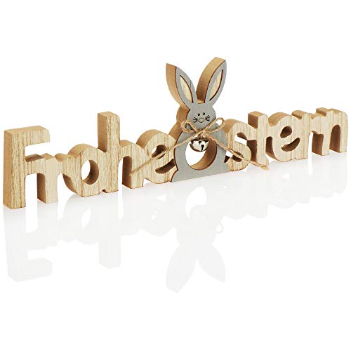 com-four® Deko Aufsteller für Ostern - Schriftzug mit Osterhase - Osterdeko zum Hinstellen - Osterdekoration aus Holz