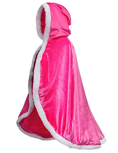 Party Chili Fur Princess Cape Fur Hooded Cloaks Costume for Girls Dress Up Pink 6-7 Years(130cm)