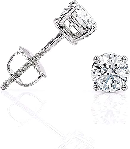 0.25 carat Lab Grown Diamond Stud Earrings in 14k White Gold (1/4 cttw, D - E Color) 4-Prong Basket, Secure Screw Back by Beverly Hills Jewelers