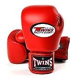 Twins special BGVL-3 - Guantes de boxeo con velcro para Muay Thai, color rojo