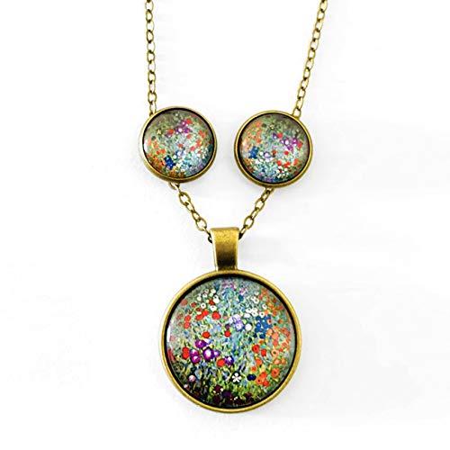 Desconocido Conjunto Colgante y Pendientes de botón Color Bronceado, Arte Gustav Klimt, Cuadro El Jardín en Oscuro