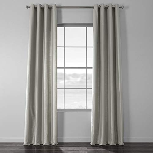 HPD Half Price Drapes CCLK-1805A-96-GR Cotton Textural LinenWeave Grommet Curtain (1 Panel), 50 X 96, Mist Grey