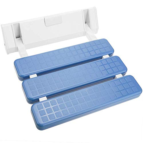 PrimeMatik - Asiento de Ducha abatible. Silla Plegable para Ancianos de plástico y Aluminio Azul 320x328mm