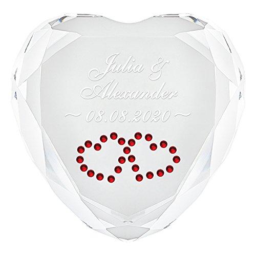 Geschenke 24 Herz Diamant (Weiß - Herzen in Rot) mit Namen und Datum graviert - personalisiertes Liebesgeschenk für sie und ihn – romantischer Diamant aus Kristallglas mit Gravur