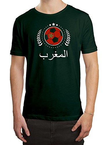 Marokko WM 2018#20 Premium T-Shirt Fan Trikot Fußball Weltmeisterschaft Nationalmannschaft Herren Shirt, Farbe:Dunkelgrün (Bottle Green L190);Größe:4XL