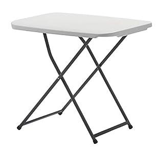 KitGarden - Mesa Auxiliar Plegable y Ajustable en Altura, color Blanco, 75 x 50 x 56-73 cm