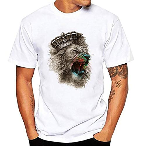 Arestory Heren Zomer Basic Tee Originele Crew Neck T-shirt Blouse Korte Mouw Tijger Gedrukt Shirt Katoen Jersey T-Shirt Funky Comfort Sweatshirt Top Stretch Slim Gym Kleding Fancy Tops