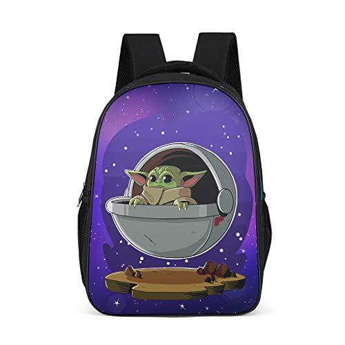 Mochila escolar para niños y niñas Sky Baby Yoda con diseño de barco aéreo