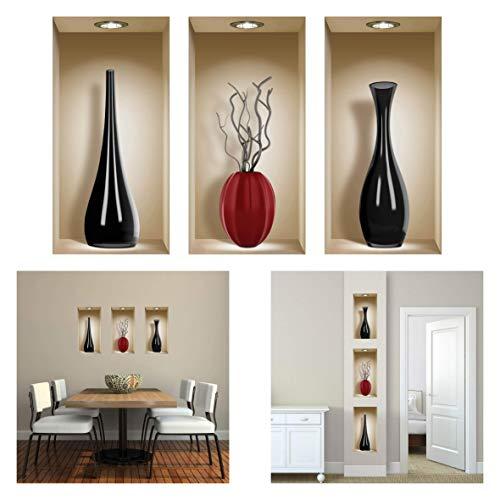 The Nisha 3 Pc Pack Art Magic Peel and Stick 3D Vinyl Removable Wall Sticker Decals DIY Sticky Backsplash, Black and Red Ceramic Vases 310-2-Uk