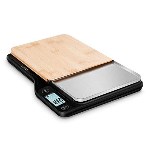 YGB Waage Körper Essen Kochen Waage, 5 kg Kapazität 5000 g / 1 g mit Bambus-Schneidebrett Flaches, schlankes Design Premier LCD Digital Electronic Tara Function