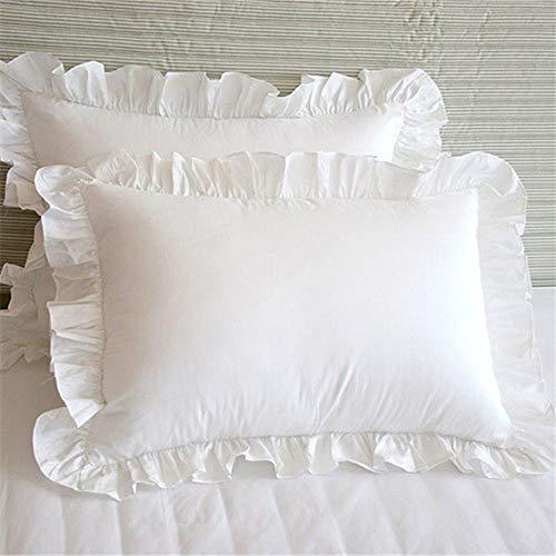 1 par de fundas de almohada con volantes, color blanco, fundas de almohada de 74 x 48 cm, color blanco