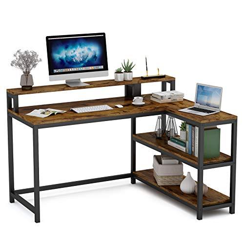 Tribesigns Escritorio de computadora con soporte para monitor, estación de trabajo en forma de L con 3 estantes para oficina en casa, marco metálico, industrial, marrón y negro